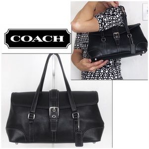 Coach Hamptons Black Leather Buckle Flap Satchel